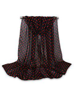 Tiny Polka Dot Gossamer Shawl Scarf - Black Red