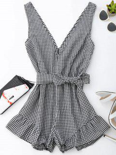 Checked Plunge Romper - Black S