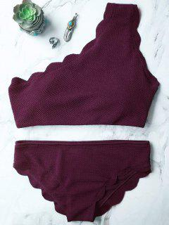 Wireless Scalloped One Shoulder Bathing Suit - Merlot S