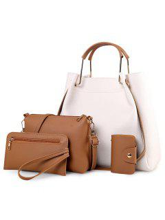 4 Pieces Metal Handle Tote Bag Set - Off-white