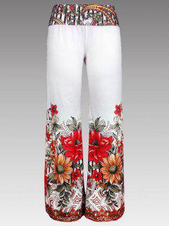 Pantalones De Impresión Floral De Pierna Ancha - Blanco 2xl