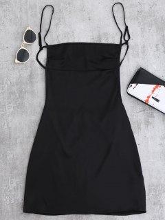 Rückenfreies Mini Cami Kleid  - Schwarz M