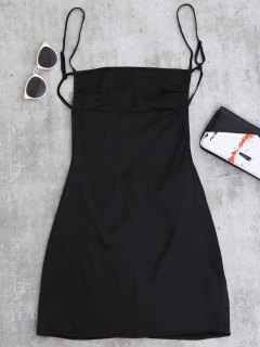 Backless Mini Slip Dress - Black S