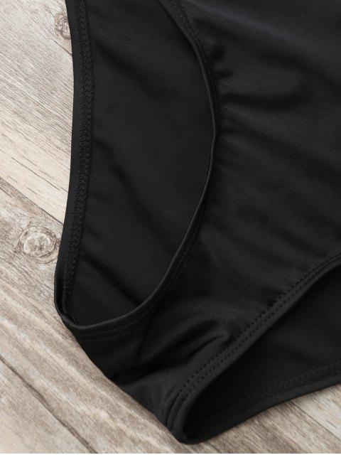 online Bandeau Lace Up One Piece Plunge Swimsuit - BLACK S Mobile