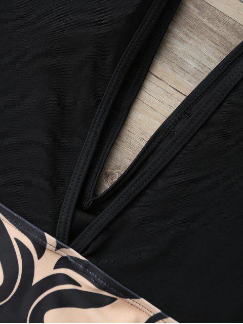 Mesh Baroque Plunge One Piece Swimsuit - Noir M Mobile