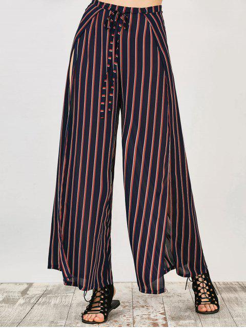 chic High Split Wide Leg Palazzo Pants - STRIPE L Mobile