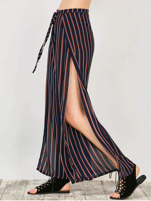 unique High Split Wide Leg Palazzo Pants - STRIPE S Mobile