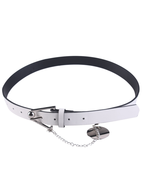 online Metal Trangle Buckle Link Faux Leather Waist Belt - WHITE  Mobile