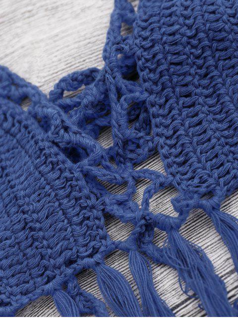 hot Tasselled Halter Crochet Bathing Suit - BLUE ONE SIZE Mobile