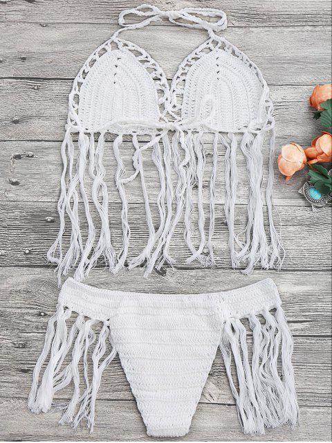 outfit Tasselled Halter Crochet Bathing Suit - WHITE ONE SIZE Mobile