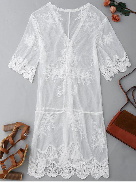 Manteau antidérapant au kimono avant en dentelle - Blanc M Mobile
