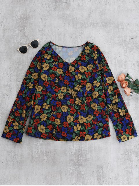 hot V Neck Floral Blouse - FLORAL S Mobile