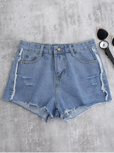 trendy Cutoffs Ripped Shorts - LIGHT BLUE S Mobile