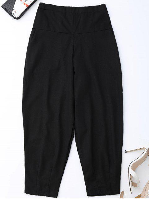 Pantalones de cintura alta de zanahoria - Negro XL Mobile