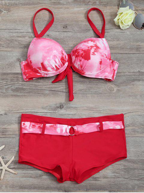 Soutien-gorge à bikini assorti à l'assortiment de cravates avec des boxeurs - Rouge L Mobile