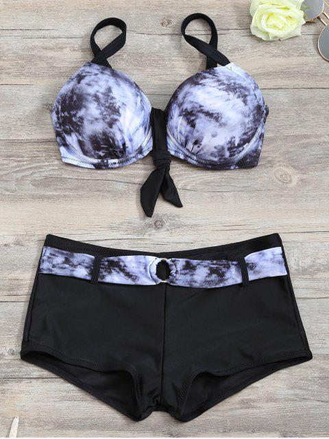 trendy Tie-Dyed Underwire Tied Bikini Bra with Boxers - BLACK S Mobile