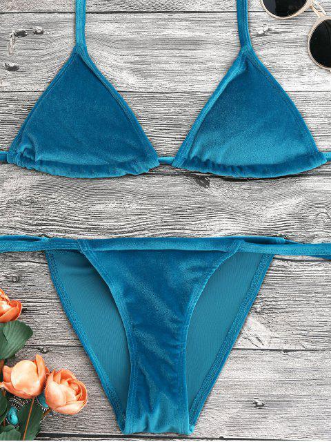 lady Halter Velvet Thong Bikini Set - PEACOCK BLUE S Mobile