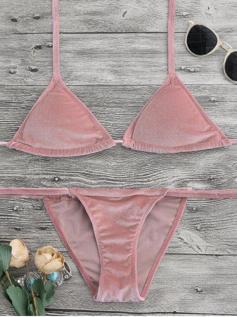 shops Halter Velvet Thong Bikini Set - PINK S Mobile
