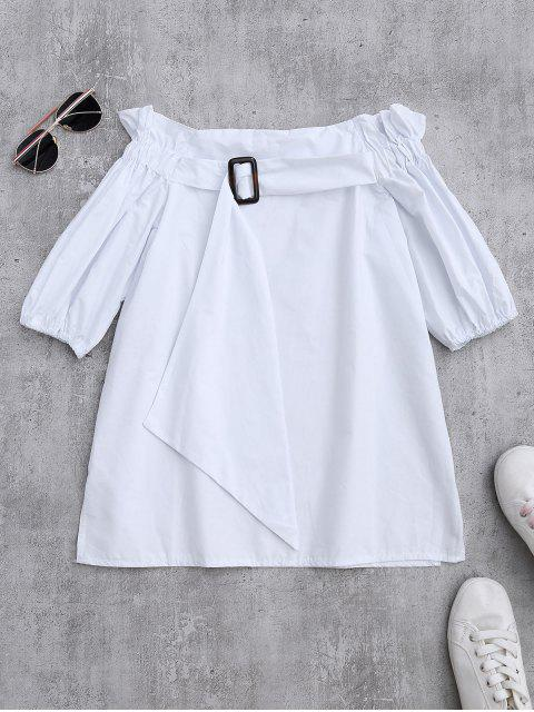 affordable Off Shoulder Ruffle Blouse With Belt - WHITE ONE SIZE Mobile