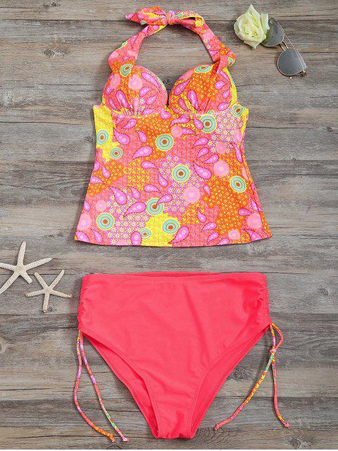 Tankini Paisley Taille Haute Diapré - Rose Fluo S Mobile