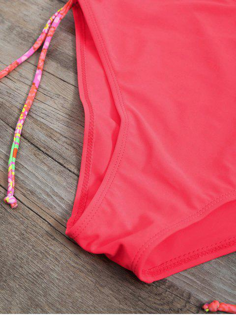 unique High Waisted Paisley Runched Tankini - FLUORESCENT PINK S Mobile