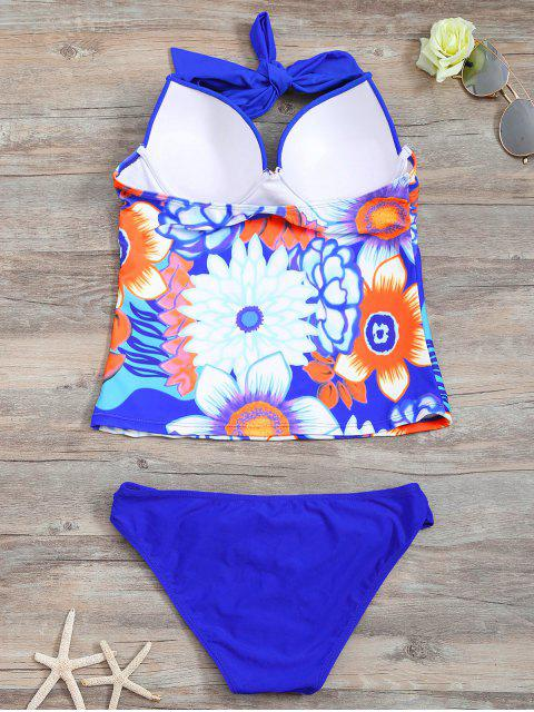 outfits Underwire Floral Ruched Tankini Set - BLUE S Mobile