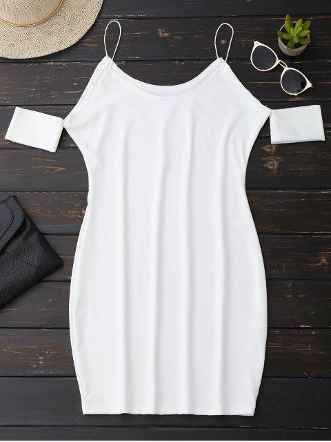 hot Cold Shoulder Spaghetti Strap Dress - WHITE L Mobile
