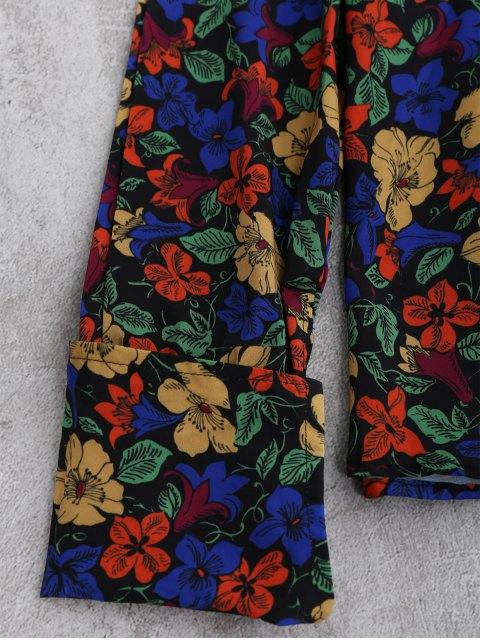 online V Neck Floral Blouse - FLORAL L Mobile