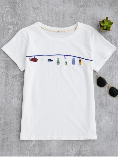 best Cute Fish Embroidered T-Shirt - WHITE ONE SIZE Mobile