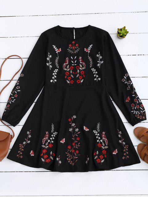 Vintage-A-Linie Kleid mit Blumenstickereien - Schwarz S Mobile