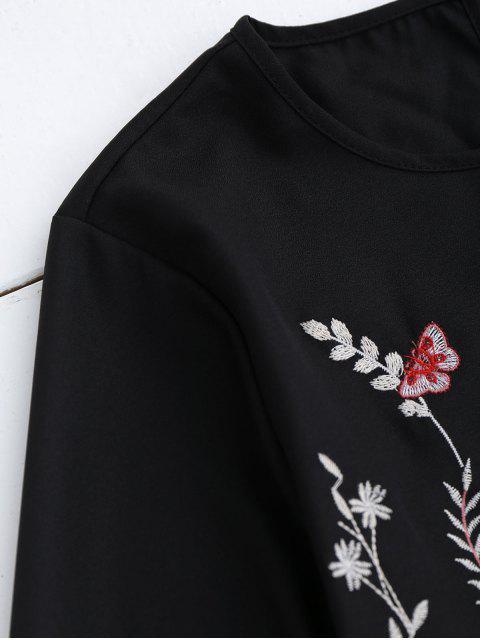 Robe à rayures vintage brodée à la broderie - Noir S Mobile