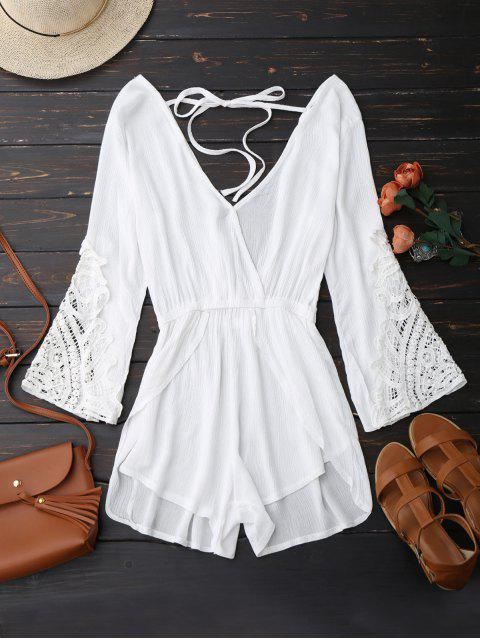 new Plunge Low Back Linen Romper - WHITE L Mobile