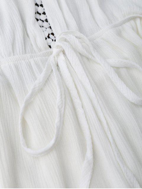 women's Plunge Halter Drawstring Linen Romper - WHITE M Mobile