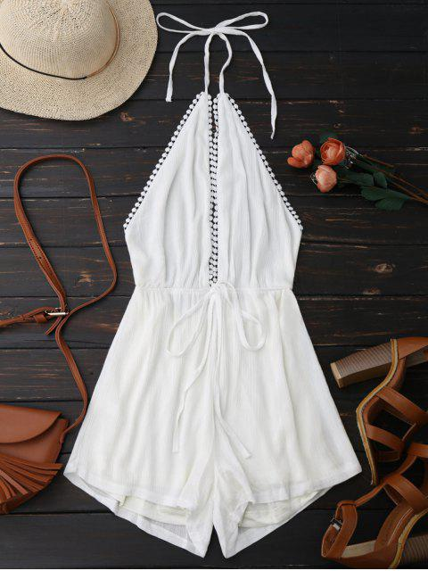 ladies Plunge Halter Drawstring Linen Romper - WHITE L Mobile