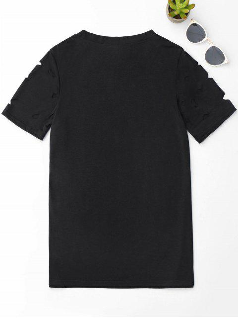 outfits Ripped Short Sleeve T-Shirt - BLACK M Mobile