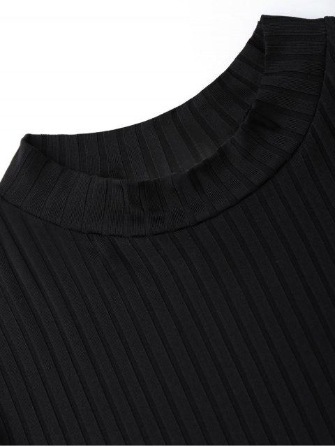 new Mock Neck Cut Out Sleeve Cropped Top - BLACK L Mobile