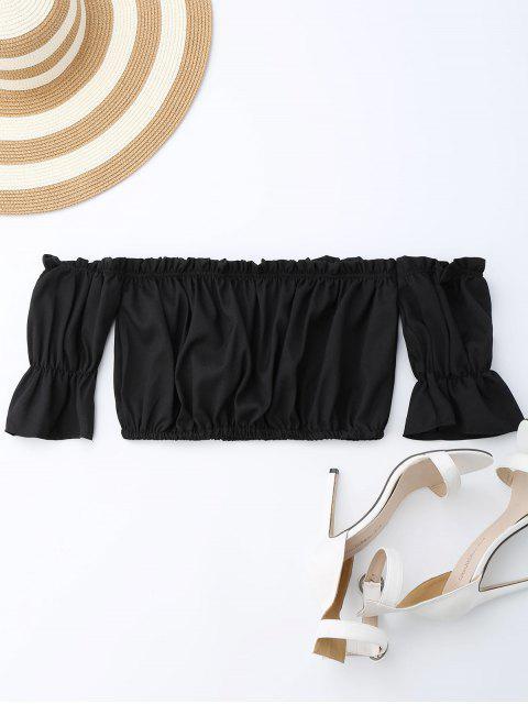 hot Off Shoulder Drawstring Cropped Top - BLACK S Mobile