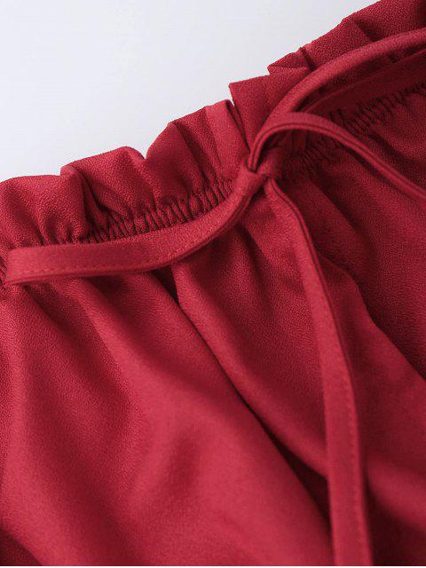 affordable Off Shoulder Drawstring Cropped Top - RED M Mobile