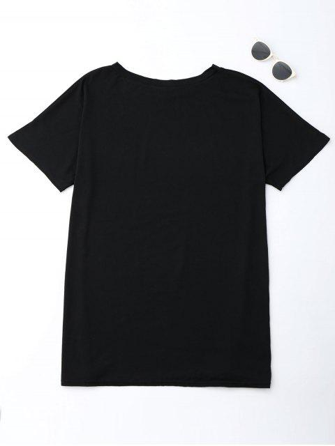 outfits Cut Out Oversized Tunic T-Shirt - BLACK S Mobile