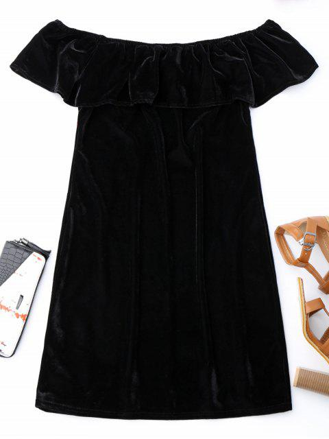 trendy Off Shoulder Ruffle Floral Bodycon Dress - BLACK S Mobile