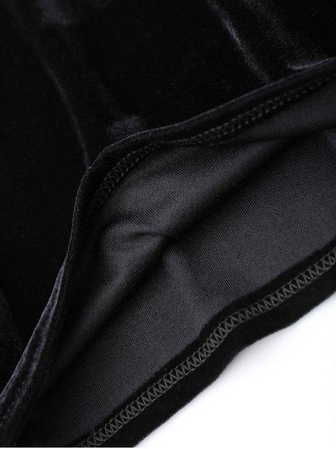 fashion Off Shoulder Ruffle Floral Bodycon Dress - BLACK M Mobile