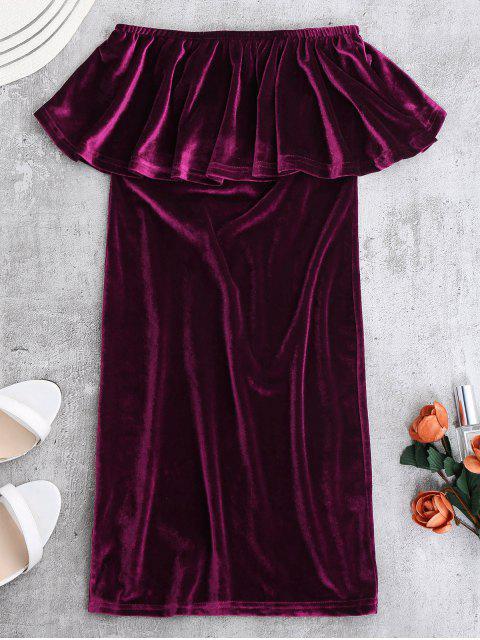 latest Ruffles Cruched Velvet Bodycon Dress - PURPLISH RED S Mobile