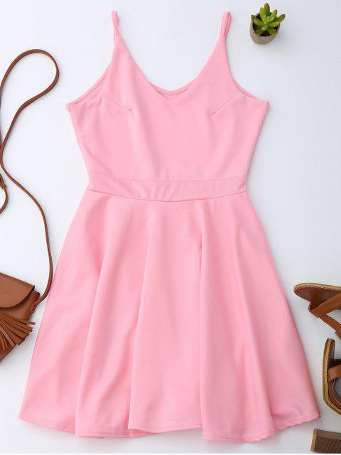 outfits Spaghetti Straps Skater Dress - PINK S Mobile