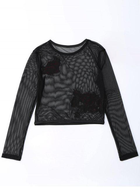 women Mesh See Thru Rose Embroidered Crop Top - BLACK S Mobile