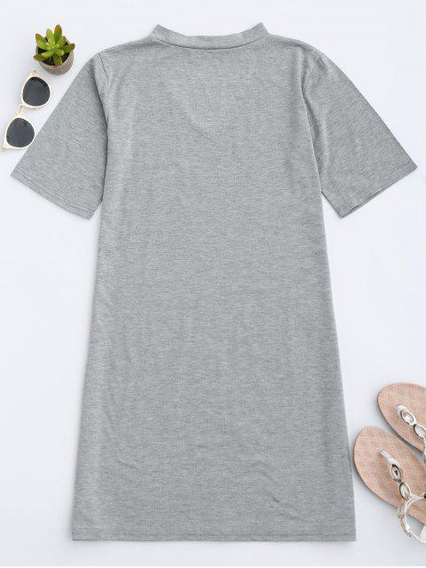 fancy Choker Shift T-Shirt Dress - GRAY L Mobile