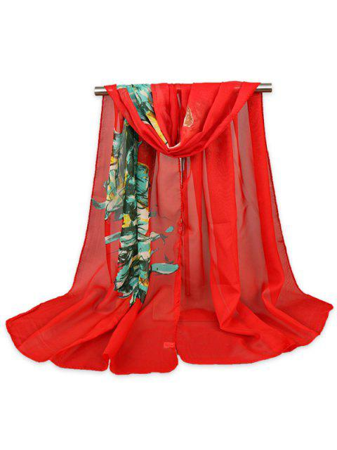 Belleza cuadro pintado impreso Gossamer Shawl bufanda - Rojo  Mobile