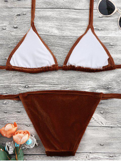 womens Halter Velvet Thong Bikini Set - BROWN S Mobile