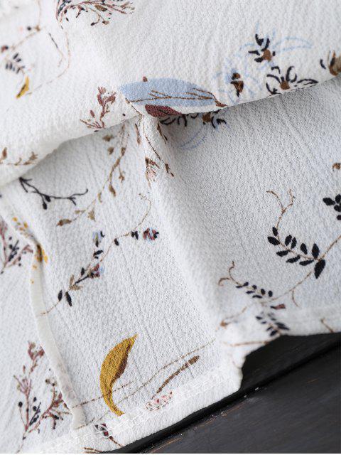 women's Off Shoulder Ruffle Drawstring Floral Blouse - WHITE L Mobile