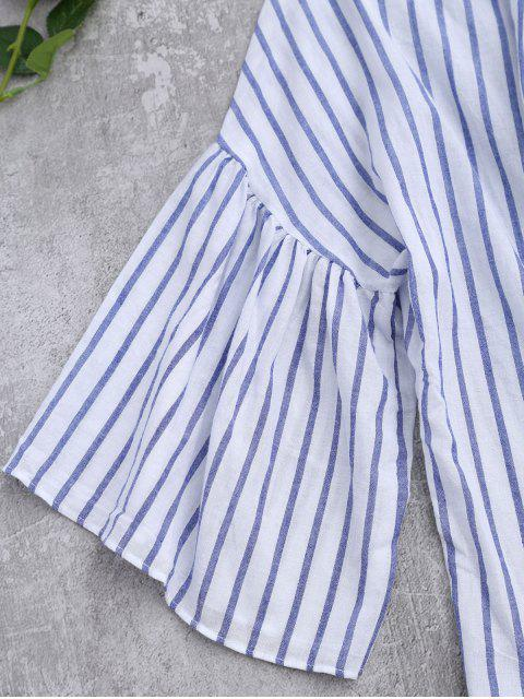 womens Striped Flare Sleeve Knot Front Top - BLUE STRIPE ONE SIZE Mobile
