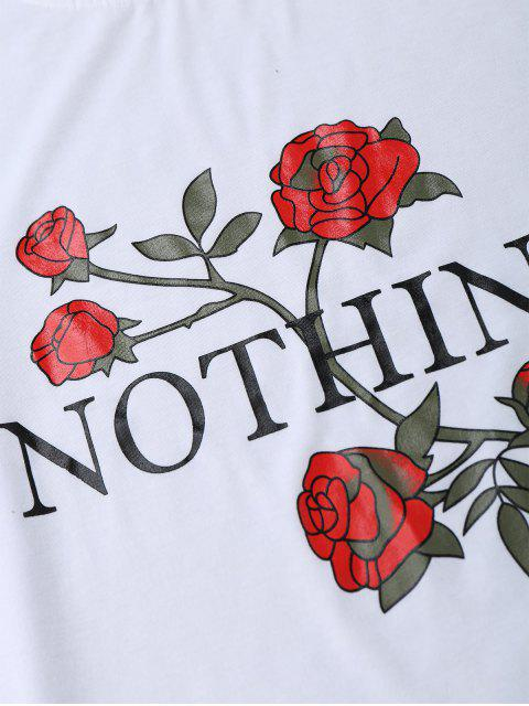 affordable Nothing Rose Short Sleeve T-Shirt - WHITE M Mobile